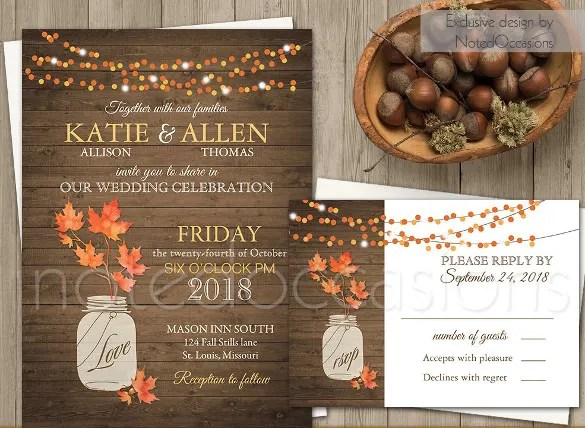 Fall Leaves Wedding Invitation 6