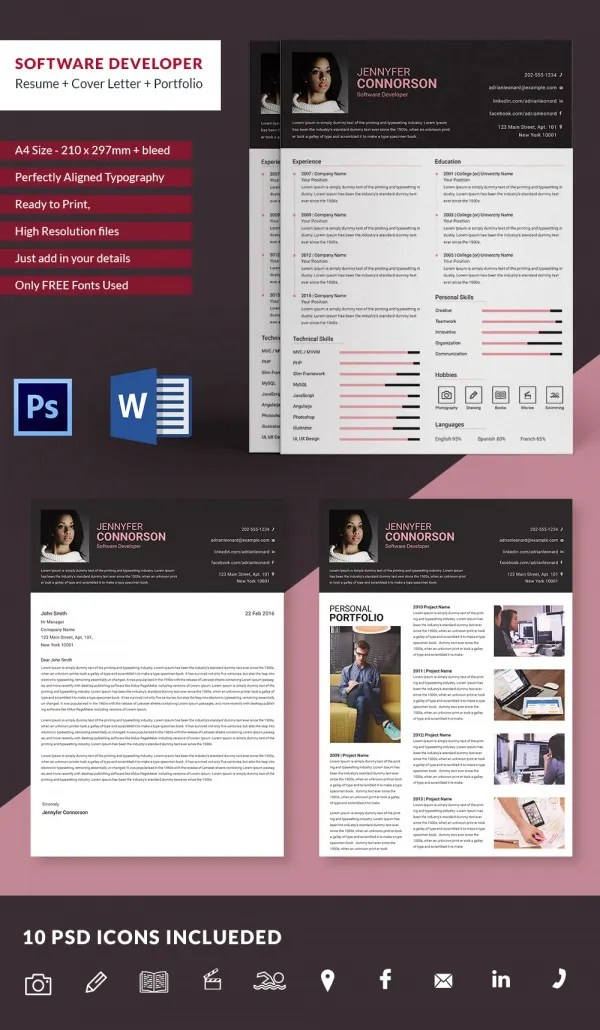 Make a perfect resume in 2021 and get your dream job using the free resume builder. Software Developer Resume Cover Letter Portfolio Template Free Premium Templates