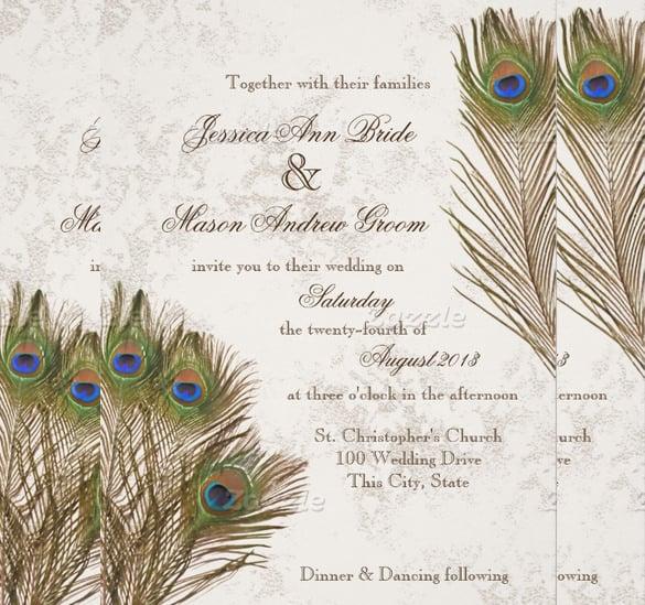 13 Peacock Wedding Invitations PSD JPG Indesign Free Amp Premium Templates