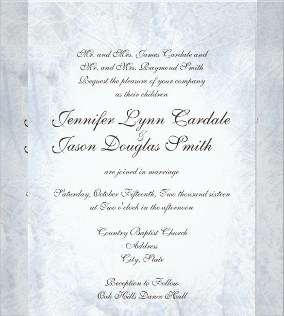 Elegant Wedding Invitation Templates: Winter Wedding Invitation Wording