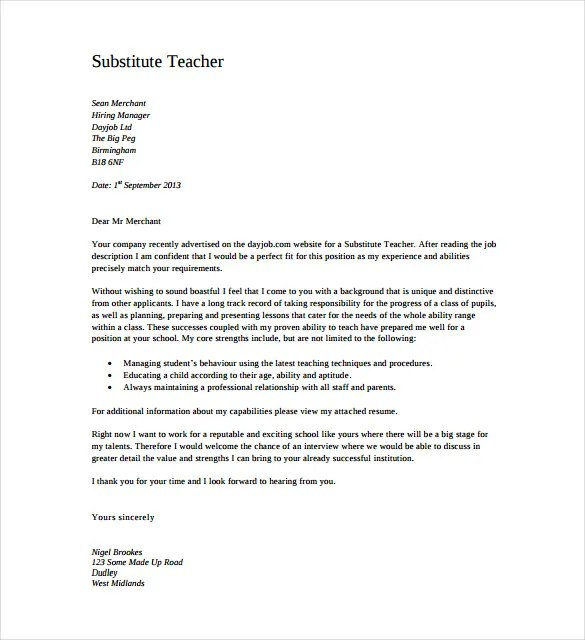 sample teaching cover letter