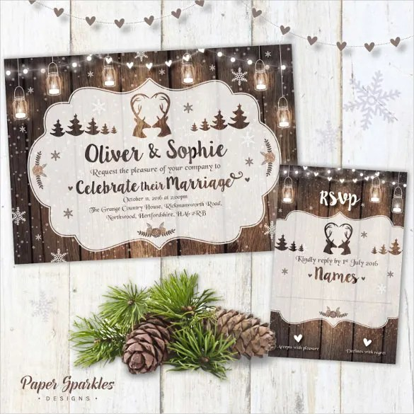 Use The Beautiful Theme Of Mason Jars That Features All Things A Wintry Night To Make Your Wedding Invitation Card Look Attractive And