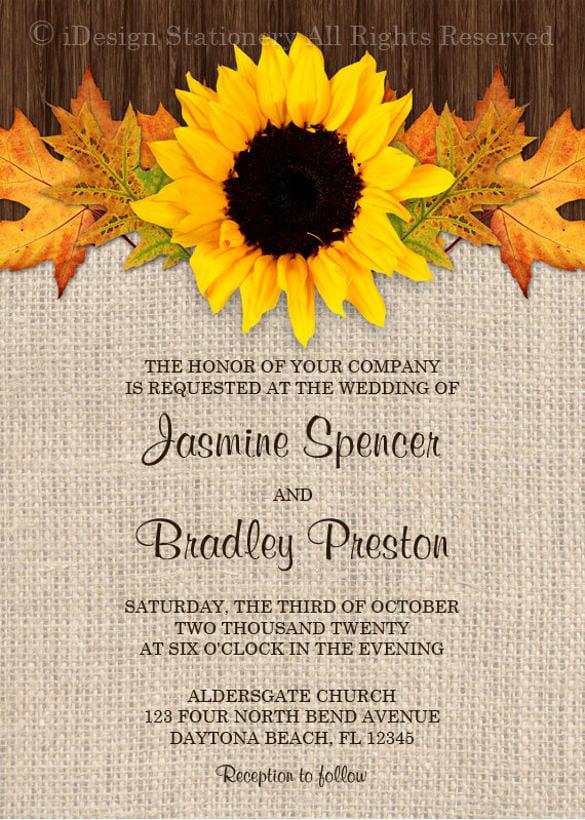 Sunflower Wedding Invitations Printable Wedding Invitation Sample
