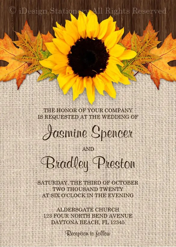Fall Sunflower Wedding Invitation Template