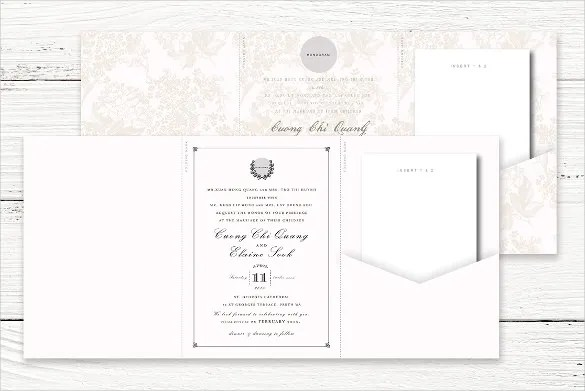 Glamorous Tri Fold Wedding Invitations