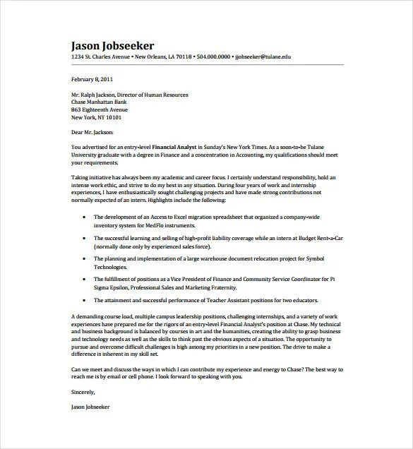 Doc.#550712: Sample Cover Letter Financial Analyst – Analyst Cover ...