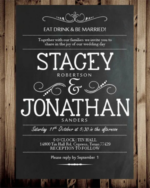 Shabby Chalkboard Wedding Invitation Template
