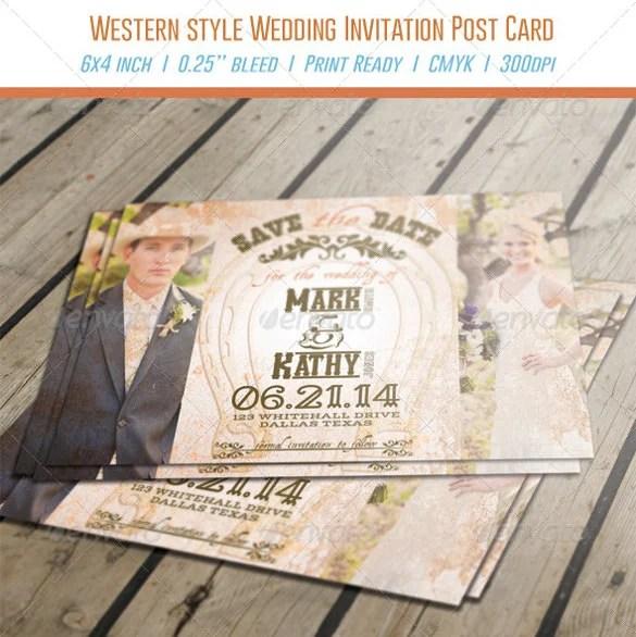 Cow Western Style Wedding Invitation Psd Format