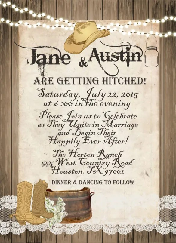 Western Rustic And Lace Wedding Invitation