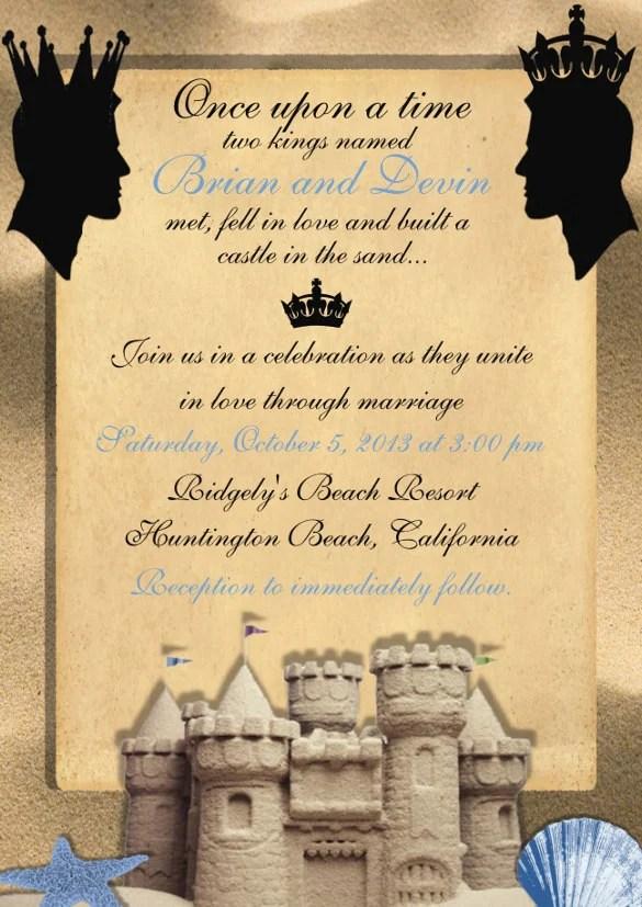 Tropical Oasis Wedding Invitation Starfish Beach Themed Invite