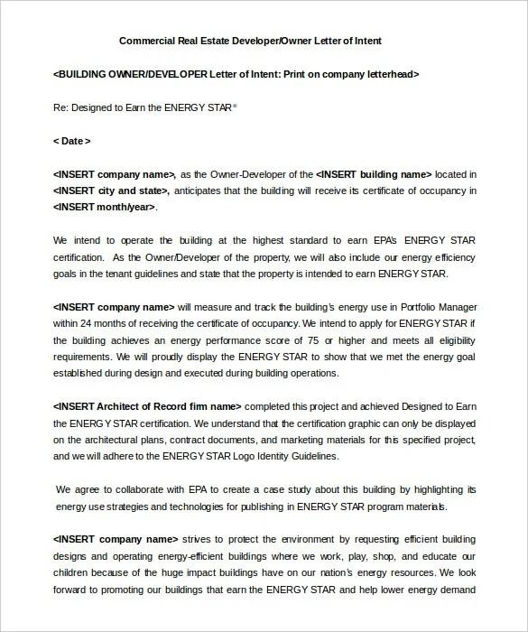 sample letter of intent for commercial real estate