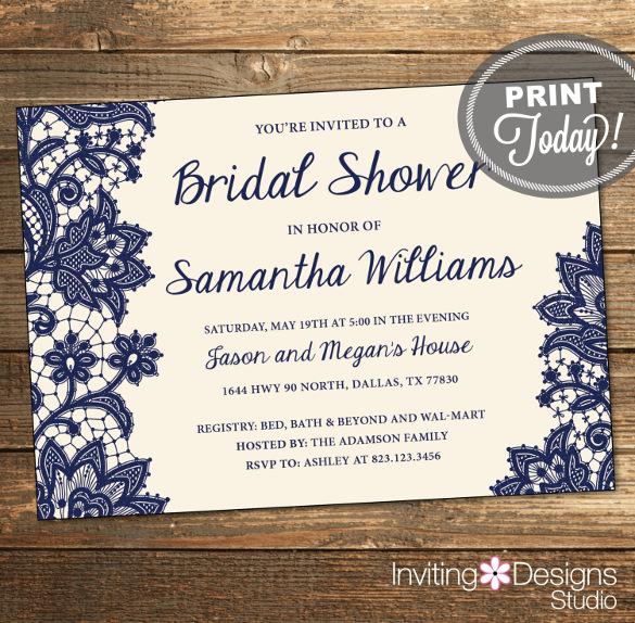 Navy Bridal Shower Invitations