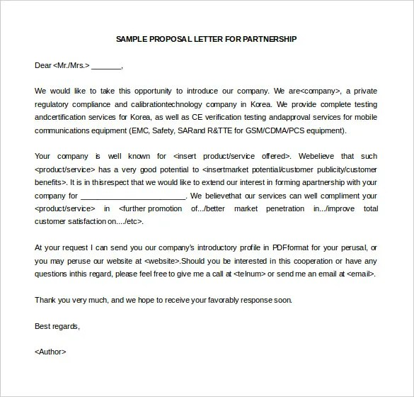 Partnership Letter Template | Docoments Ojazlink