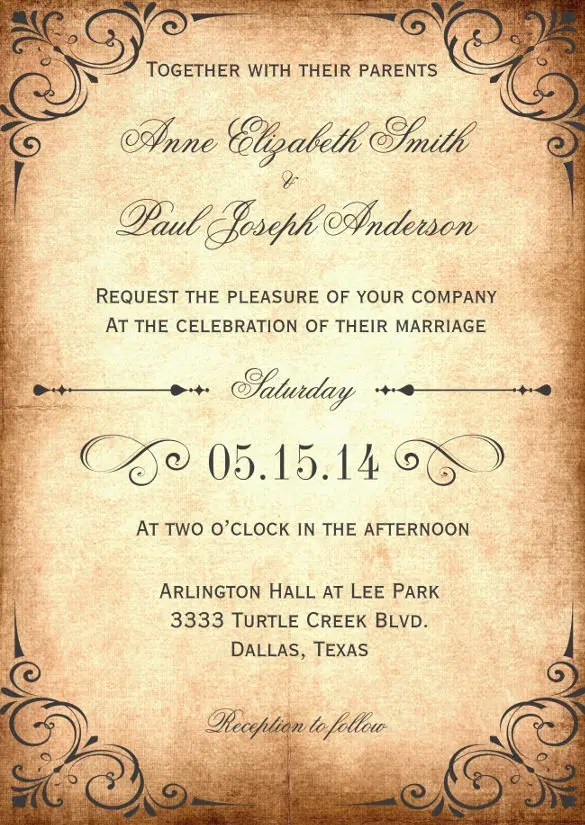 Rustic Vine Wedding Invitation Tempalate