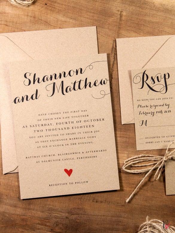 Krafted Love Rustic Wedding Invitation Template
