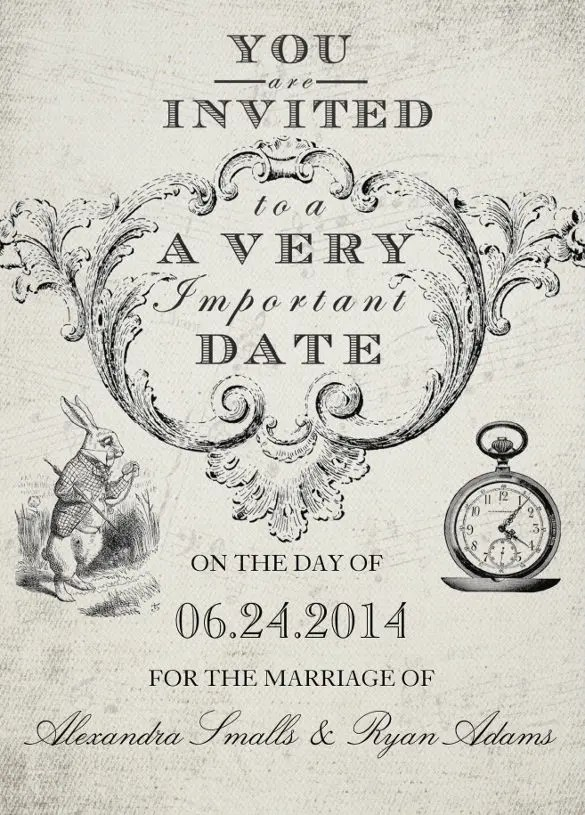 Alice In Wonderland Elegant Wedding Invitation Template