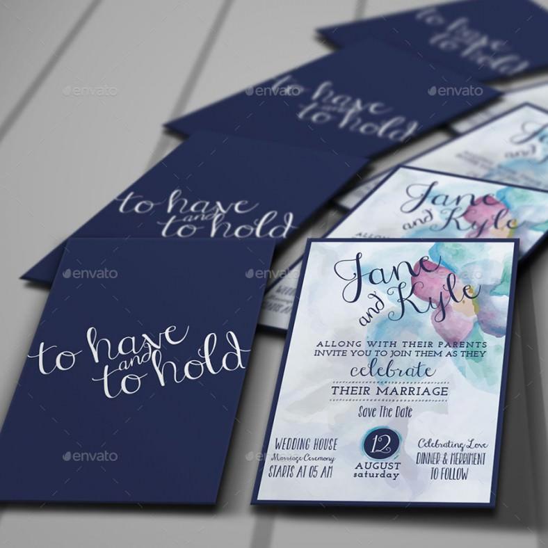Watercolor Addressing Wedding Invitation Template