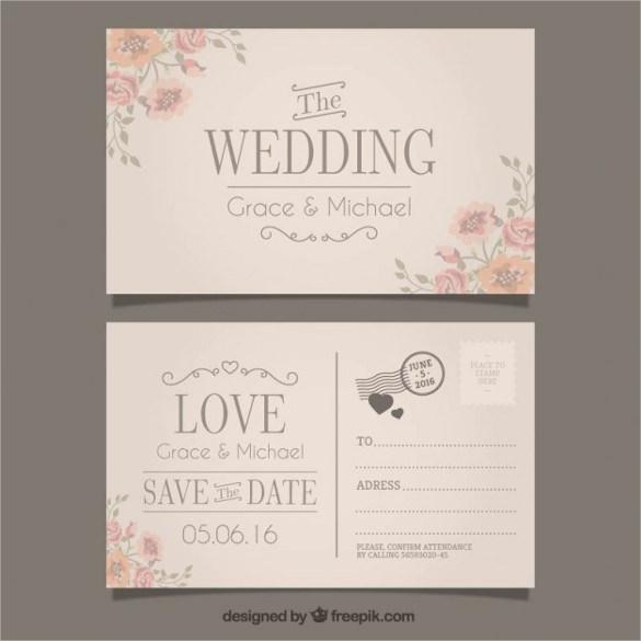 20 Wedding Postcard Templates Free