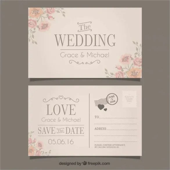 The Wedding Invitation In Postcard Style Free Vector Is A Simple And Normal Looking Sle Template Which Will Be Perfect If You Are Having