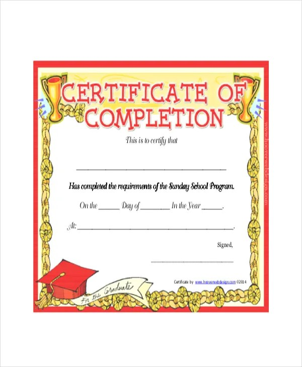 Sunday School Certificate Template - 9+ Word, Excel, PDF ...