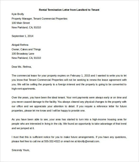 Lease Termination Letter Sample To Tenant | Docoments Ojazlink