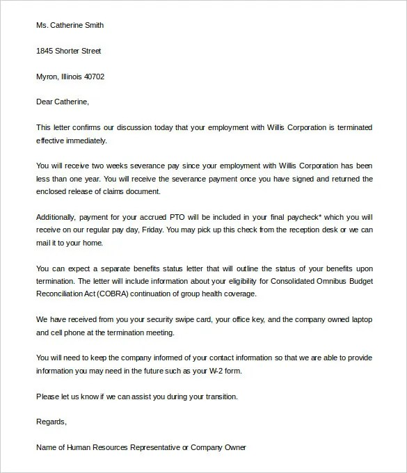 Termination of employment employment termination notice sample free sample letter of termination employment contract docoments spiritdancerdesigns Choice Image