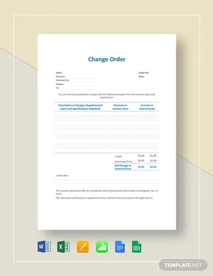 Any type of proposed changes, contract changes, project changes, etc. 24 Change Order Templates Word Pdf Google Docs Free Premium Templates