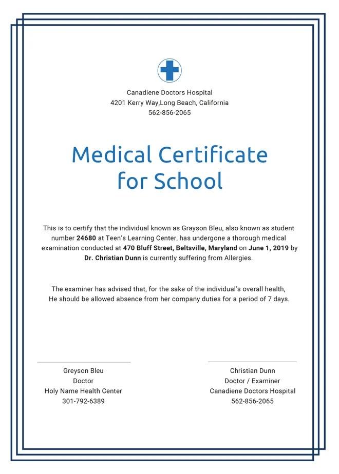 General Medical Certificate Template For Free Free Amp Premium Templates