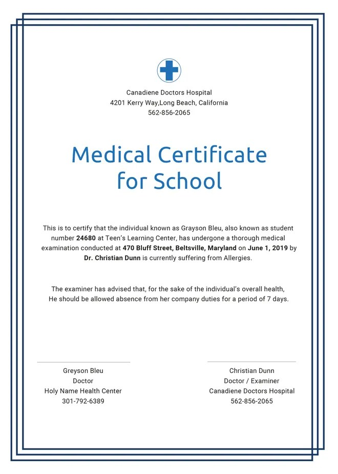Free Medical Certificate Template For Leave Free Premium Templates