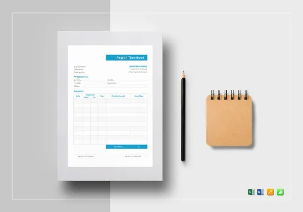 32  Simple Timesheet Templates     Free Sample  Example Format     Payroll Timesheet Word Template