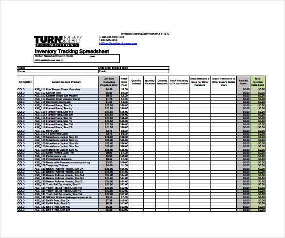 inventory sample sheet
