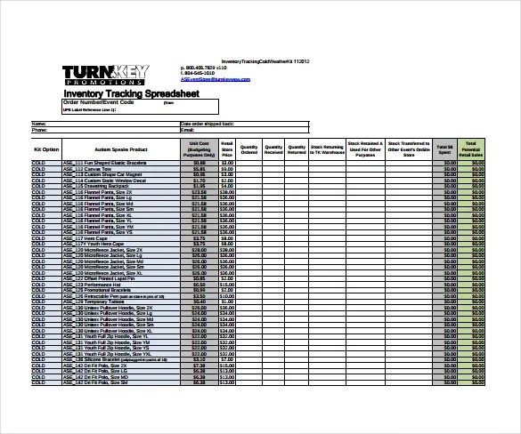 Champlain College Publishing  Inventory Sheet Template Free Download