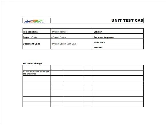 Unit Test Case Template