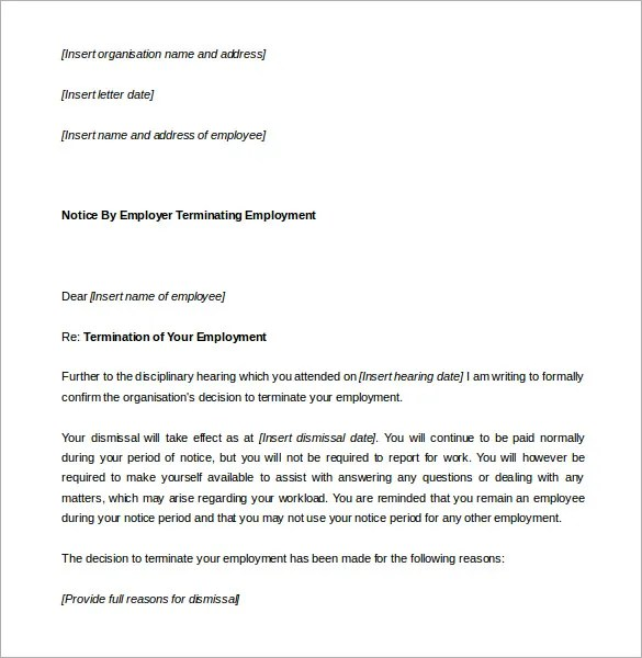Notice Of Termination Letter Uk