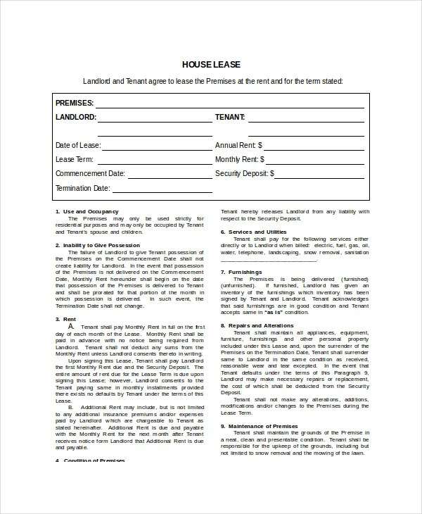 House Lease Template 7 Free Word PDF Documents Download Free Amp Premium Templates
