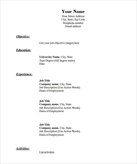 Fill In Blank Resume Templates Chronological Format in PDF Download