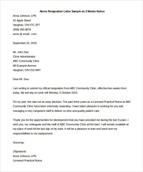 Resignation Letter Nurse Staff To Write Resignation Letter For – Resignation Letter for Nurses