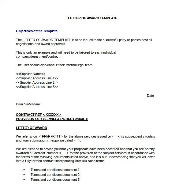 Sample Nomination Letter For Award