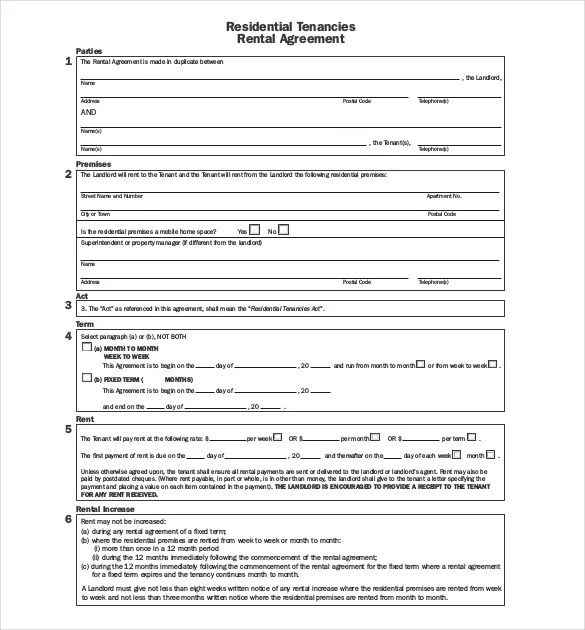 Apartment Lease Agreement Template Pdf Format