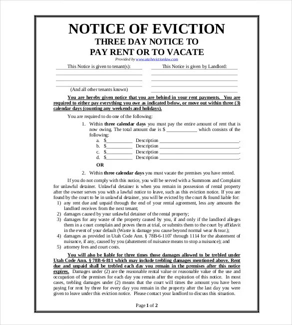 Free Eviction Template Eviction Notice Template   Free Word