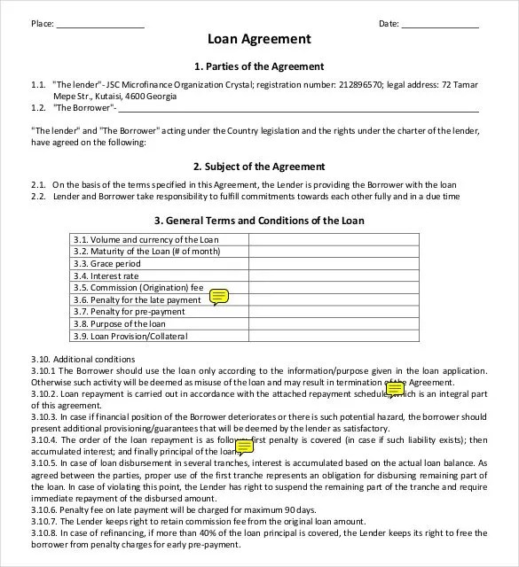 Loan Payment Contract Template | Mytemplate.Co