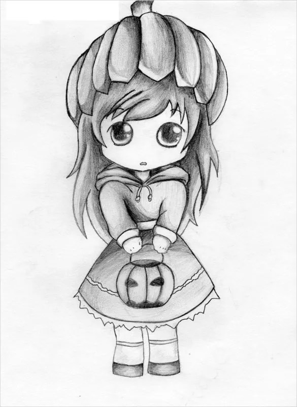 Girl With Basket Cute Drawing Template