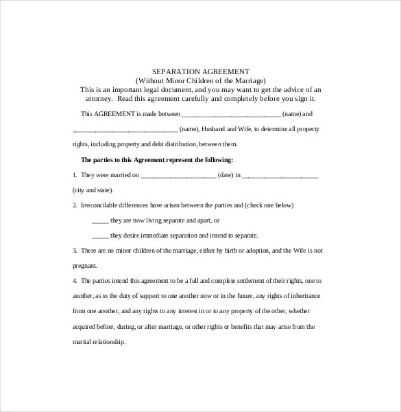 separation agreement template divorce agreement all form templates
