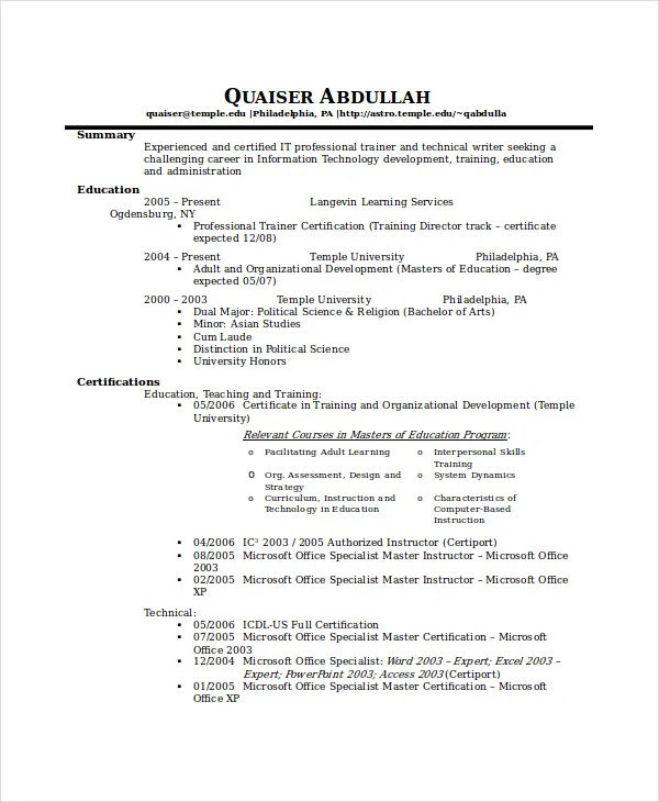 technical writer resume template 6 free word pdf doents - Writers Resume Template
