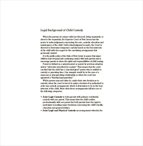 Legal Doent Templates   Sole Custody Letter Template Amtletter Co
