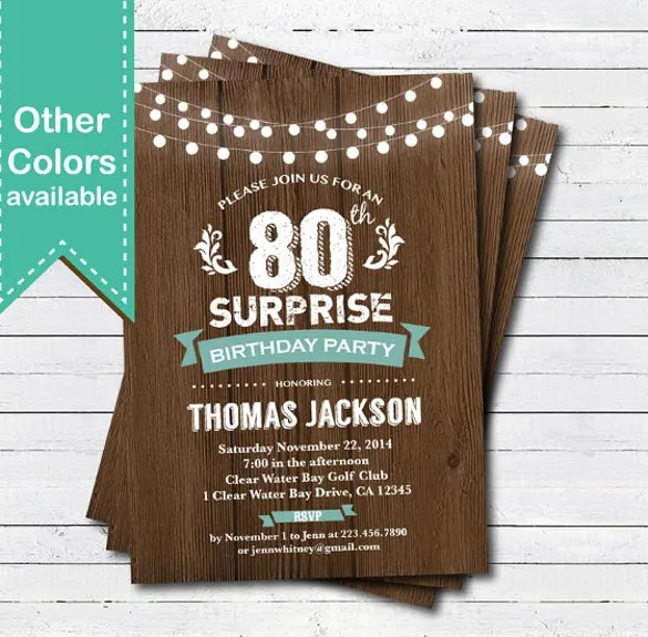 Surprise 80th Birthday Invitation Template Printable