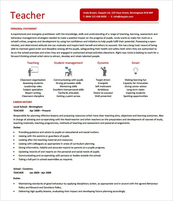 Free Teacher Resume Template - Resume Sample