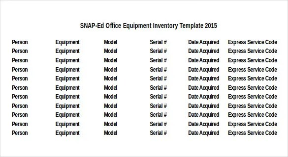 Office Inventory Template. Excel Computer Inventory Template