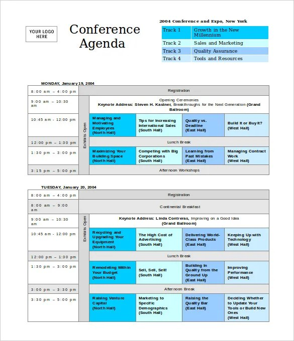 Conference agenda template free download pronofoot35fo Images