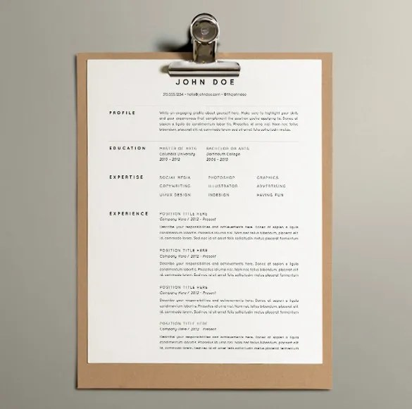 One Page Resume Example one page resume template one page resume examples free download for word best 10 41 One Page Resume Templates Free Samples Examples Formats